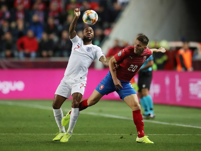 England's Raheem Sterling in action with Czech Republic's Lukas Masopust in their Euro 2020 qualifier on October 11, 2019