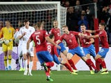 Czech Republic's Jakub Brabec celebrates scoring against England in their Euro 2020 qualifier on October 11, 2019