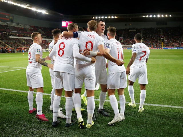 England players celebrate Harry Kane's goal against Czech Republic in their Euro 2020 qualifier on October 11, 2019