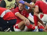 Wales' Dan Biggar sits injured on October 9, 2019
