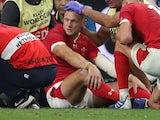 Wales' Dan Biggar sits injured on October 9, 2019