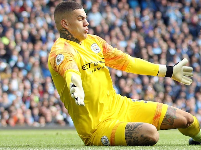 Ederson in action for Manchester City on October 6, 2019
