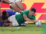 Johnny Sexton scores for Ireland on October 12, 2019