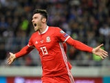 Kieffer Moore of Wales celebrates scoring on October 10, 2019
