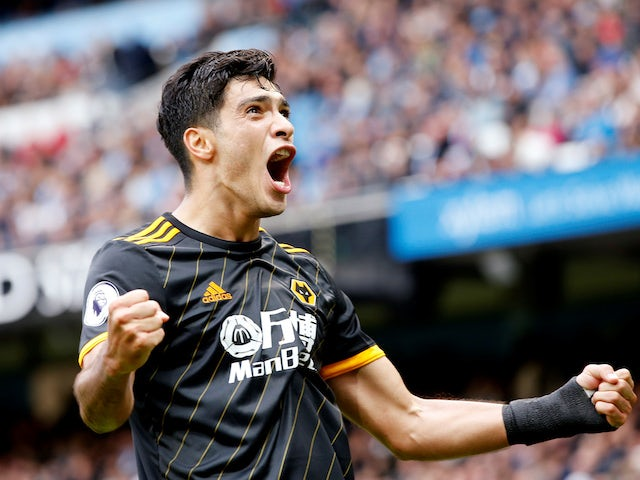 Raul Jimenez celebrates Wolves' win over Man City on October 6, 2019