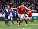 Russia's Artem Dzyuba celebrates scoring their third goal on October 10, 2019
