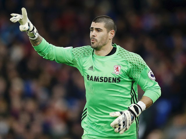 Victor Valdes in action for Middlesbrough in February 2017