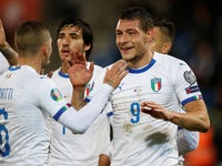 Andrea Belotti celebrates scoring for Italy on October 15, 2019
