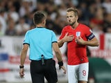 England's Harry Kane speaks to the referee during their Euro 2020 qualifier against Bulgaria on October 14, 2019