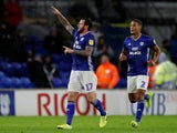 Cardiff City's Lee Tomlin celebrates scoring their first goal against Sheffield Wednesday on October 18, 2019