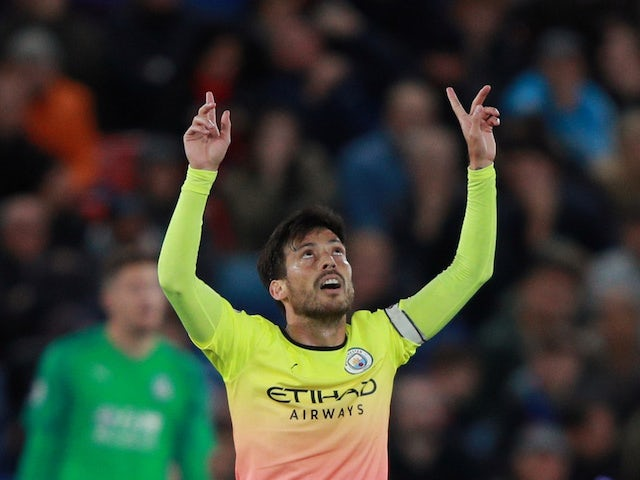 David Silva celebrates scoring for Man City on October 19, 2019