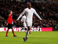 England's Eddie Nketiah celebrates scoring their fifth goal to complete his hat-trick on October 15, 2019