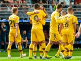 Luis Suarez celebrates with Barcelona teammates on October 19, 2019