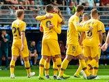 Luis Suarez celebrates with Barcelona teammates on October 19, 2019