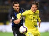 Chievo attacker Emanuel Vignato in action against Inter Milan in May 2019