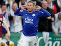 Jamie Vardy celebrates scoring for Leicester City on October 19, 2019