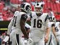 Los Angeles Rams quarterback Jared Goff (16) celebrates his touchdown pass to tight end Gerald Everett (81) in the third quarter against the Atlanta Falcons at Mercedes-Benz Stadium pictured on October 20, 2019