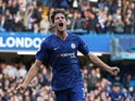 Marcos Alonso celebrates scoring for Chelsea on October 19, 2019