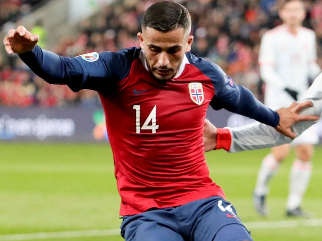 Omar Elabdellaoui in action for Norway on October 12, 2019