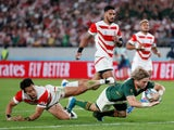 South Africa's Faf de Klerk scores their second try against Japan on October 20, 2019