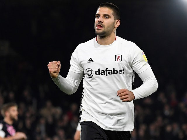 Aleksandar Mitrovic celebrates scoring a hat-trick for Fulham on October 23, 2019