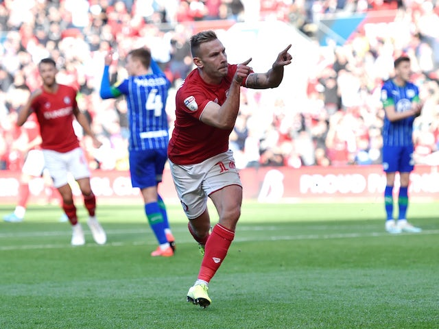 Bristol City's Andreas Weimann celebrates scoring their first goal on October 27, 2019