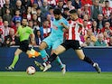 Athletic Bilbao's Unai Nunez in action with Atletico Madrid's Diego Costa in La Liga on March 16, 2019