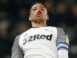 Derby skipper Curtis Davies sports a broken nose on October 23, 2019