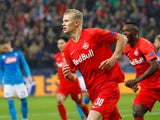 Erling Braut Haaland celebrates scoring for Salzburg on October 23, 2019