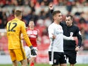Fulham's Marek Rodak is shown a red card by the referee on October 26, 2019