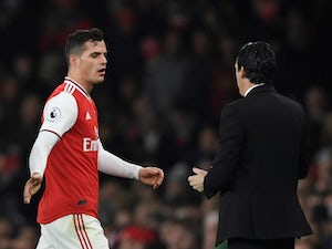 Arsenal's Granit Xhaka reacts after being substituted on October 27, 2019