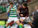 Hearts defender Aaron Hickey battles with Celtic's James Forrest in the 2018-19 Scottish Cup final in May 2019