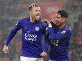 Jamie Vardy celebrates with Ayoze Perez after scoring for Leicester City on October 25, 2019