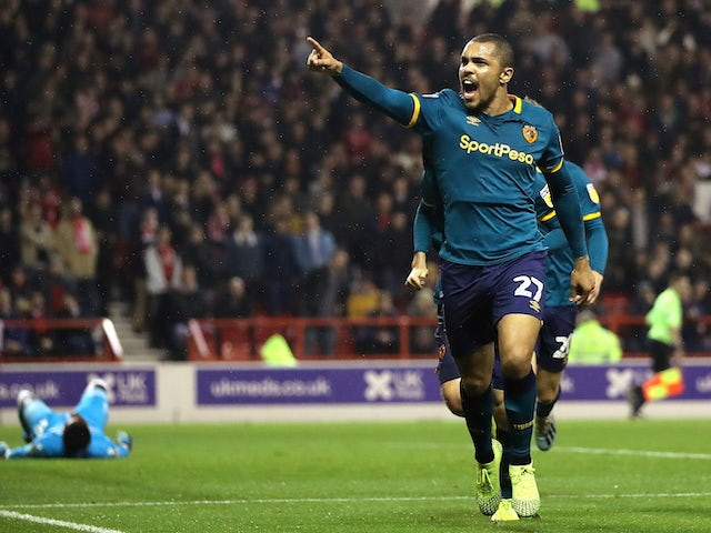 Josh Magennis celebrates scoring for Hull City on October 23, 2019