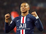 Paris Saint-Germain attacker Kylian Mbappe celebrates scoring against Marseille on October 27, 2019