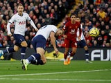 Tottenham Hotspur's Harry Kane scores against Liverpool in the Premier League on October 27, 2019