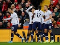 Tottenham Hotspur players celebrate Harry Kane's goal against Liverpool in the Premier League on October 27, 2019