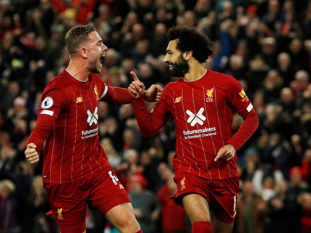 Liverpool's Mohamed Salah celebrates scoring against Tottenham Hotspur in the Premier League on October 27, 2019