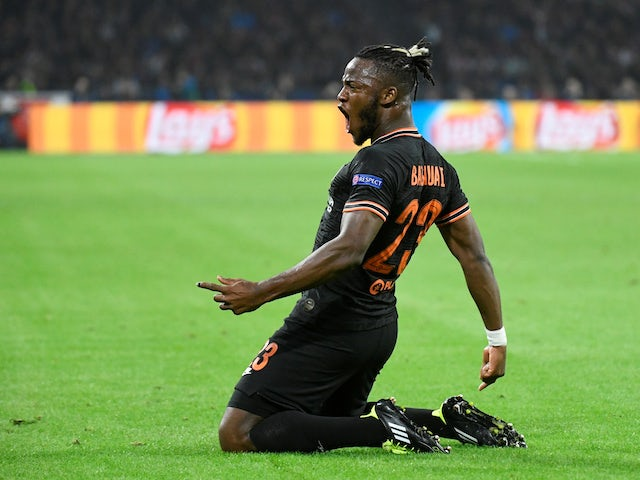 Michy Batshuayi celebrates scoring for Chelsea on October 23, 2019
