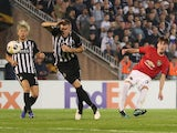 Manchester United's James Garner in action against Partizan Belgrade in the Europa League on October 24, 2019