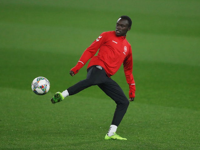 Pione Sisto in action for Denmark in November 2018