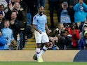 Manchester City's Raheem Sterling celebrates scoring their fifth goal and completing his hat-trick on October 22, 2019