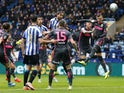 Sheffield Wednesday's Atdhe Nuhiu heads at goal against Leeds on October 26, 2019