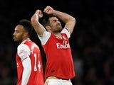 Arsenal's Sokratis Papastathopoulos reacts after his goal is disallowed following a VAR review on October 27, 2019
