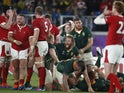 South Africa celebrate after the match as Wales look dejected on October 27, 2019