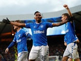 Rangers' Alfredo Morelos celebrates scoring their third goal against Hearts on November 3, 2019