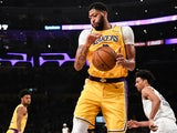 Anthony Davis in action for the LA Lakers on October 29, 2019