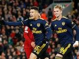 Arsenal striker Gabriel Martinelli celebrates scoring their second goal against Liverpool on October 30, 2019