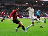 Manchester United's Marcus Rashford in action with Bournemouth's Adam Smith in the Premier League on November 2, 2019