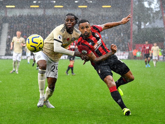 Bournemouth's Callum Wilson in action with Manchester United's Aaron Wan-Bissaka in the Premier League on November 2, 2019